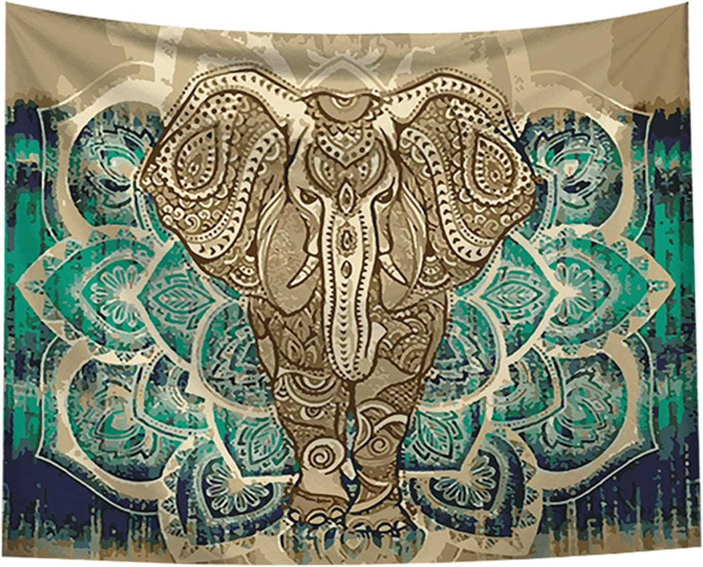 "Bohemian Elephant Tapestry - Mandala Boho Vintage Watercolor Yoga Wall Hanging Indian Art Home Decoration Bedroom Decor Living Room Door Curtain Balcony Sheer Room Divider 59.1"" × 51.2"""