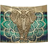Bohemian Elephant Tapestry - Mandala Boho Vintage Watercolor Yoga Tapestries Wall Hanging Indian Art Home Decoration…