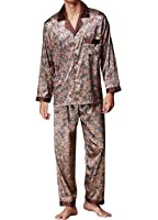Musen Men Sleepwear Silk Pajama Set Pajama Shirt and Pant Satin Loungewear