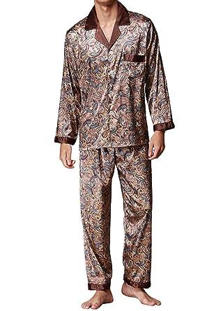 Musen Men Sleepwear Silk Pajama Set Pajama Shirt and Pant Satin Loungewear Brown 3XL