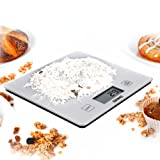 Duronic Kitchen Scale KS1080 5KG Glass Platform Silver Digital Display Kitchen Scales with 18cm Diameter Capacity: 5kg / 11lb
