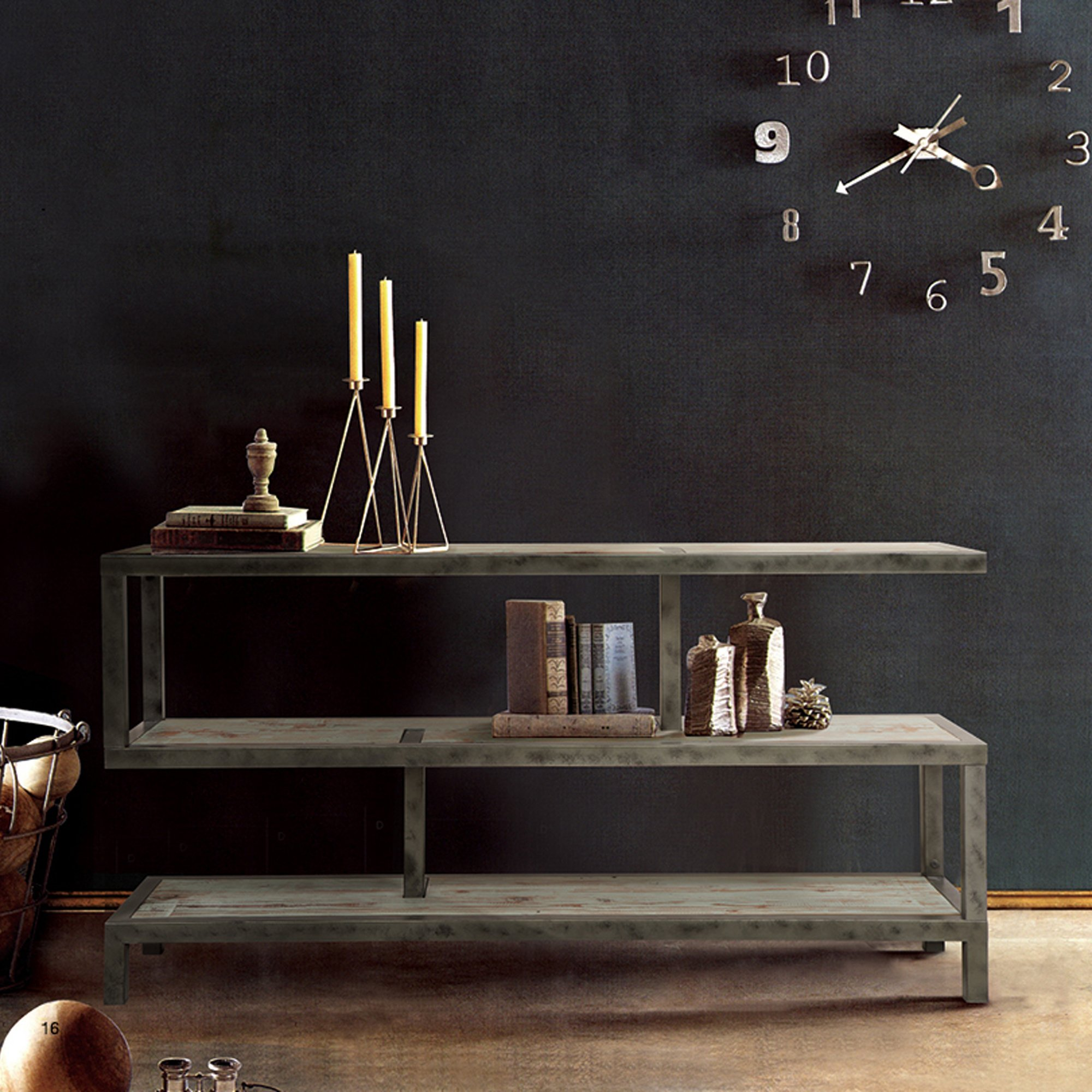 Armen Living LCMXCNMT Maxton Occasional Table with Brown Wood and Gunmetal Finish by Armen Living