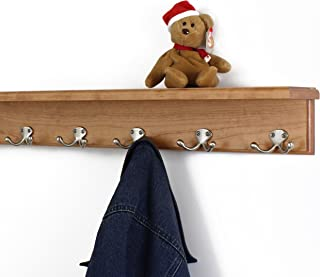 """product image for PegandRail Solid Cherry Shelf Coat Rack with Satin Nickel Double Style Hooks (Cherry, 26"""" with 5 Hooks)"""