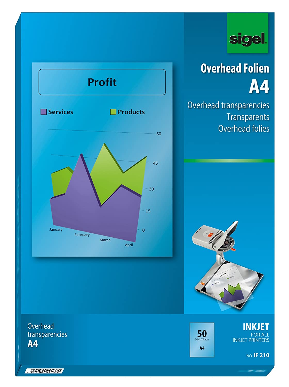Sigel IF110 OHP-Folien/Overhead-Folien für InkJet/Tintenstrahldrucker A4, 10 Blatt Notebooks/Pads/Misc Paper School Supplies Schreibwaren