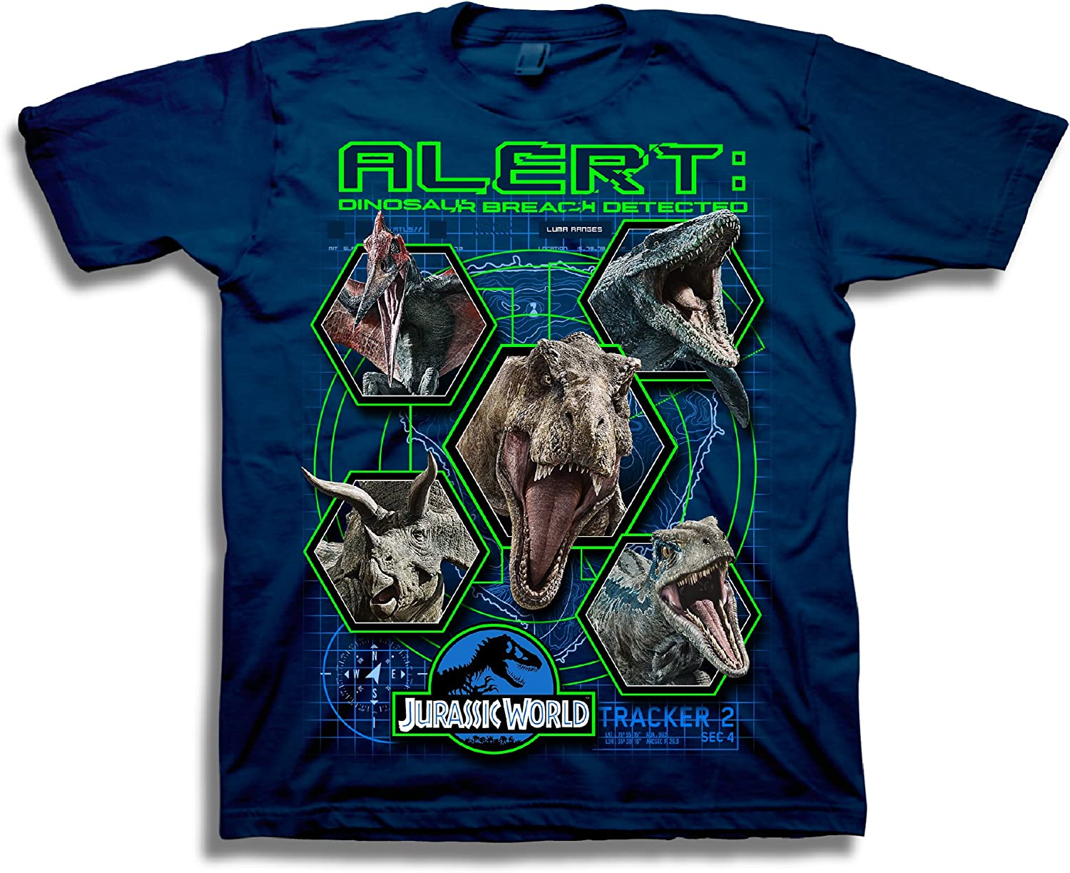 Jurassic World Boys 2 Alert Short Sleeve T-Shirt