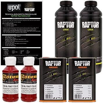 U-POL Raptor Blood Red Urethane Spray-On Truck Bed Liner & Texture Coating,  2 Liters