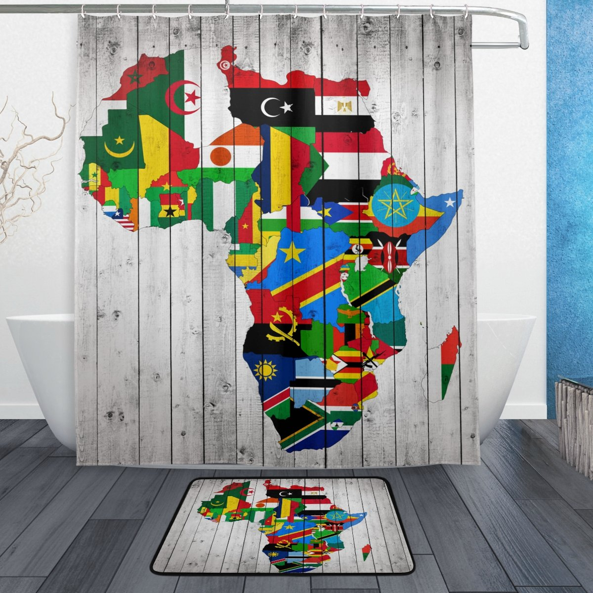 ALAZA Shower Curtain Set Africa Continent Flag Map Wood Polyester Fabric Bathroom Curtain Suit with Mat Rug 12 Hooks