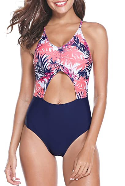7db89bdfdd916 Holipick Women One Piece Halter High Waisted Swimsuit Striped Tropical Leaf  Printed Cutout Backless Bathing Suit at Amazon Women's Clothing store: