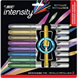 BIC Intensity Permanent Fine Point Markers - 8 Assorted Metallic Colours, Low Odour, Non Toxic, Snap Lock Cap, Non Slip Grip
