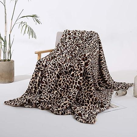 Styho Couvre-lit en Fourrure de Vison /épaisse et Chaude avec imprim/é l/éopard 51 x 63 Pattern-04 Microfibre 130 x 160cm