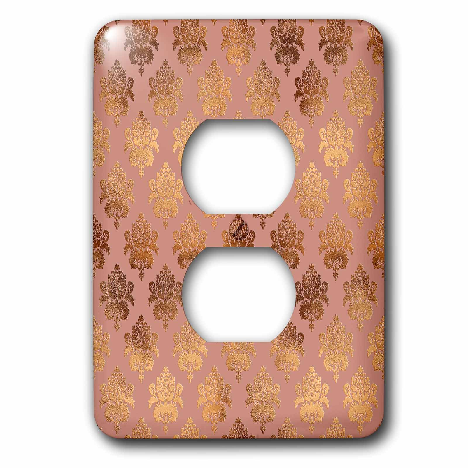 3dRose Uta Naumann Faux Glitter Pattern - Luxury Shiny Elegant Rose Gold Copper Damask Pattern - Light Switch Covers - 2 plug outlet cover (lsp_272876_6)