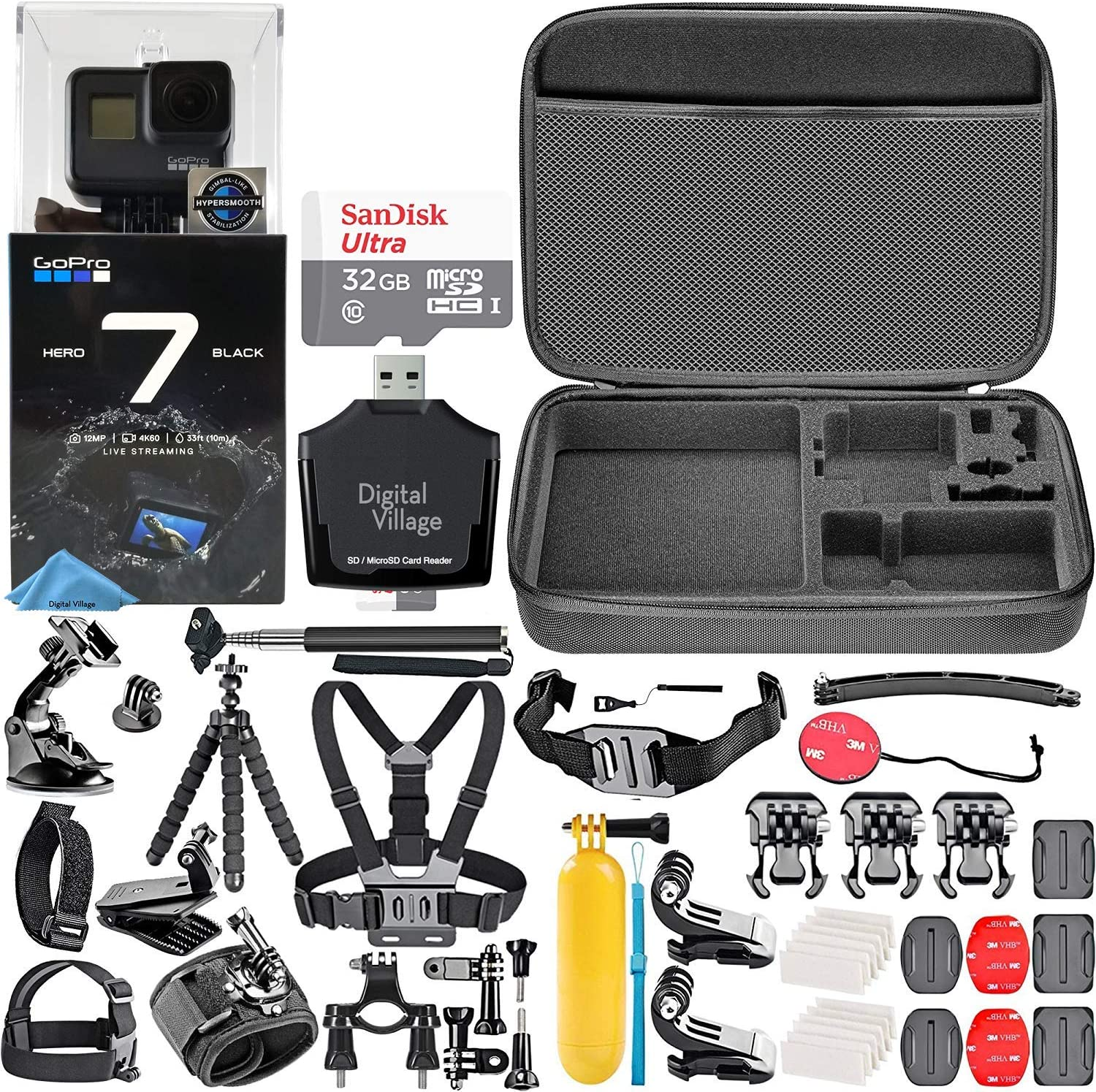 GoPro HERO7 Black + 32GB Memory Card + Hard Case + Card Reader + Chest Strap Mount + Head Strap Mount + Flexible Tripod + Extendable Monopod + ...
