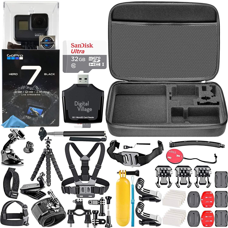 GoPro HERO7 Black + 32GB Memory Card + Hard Case + Card Reader + Chest Strap Mount + Head Strap Mount + Flexible Tripod + Extendable Monopod + ...