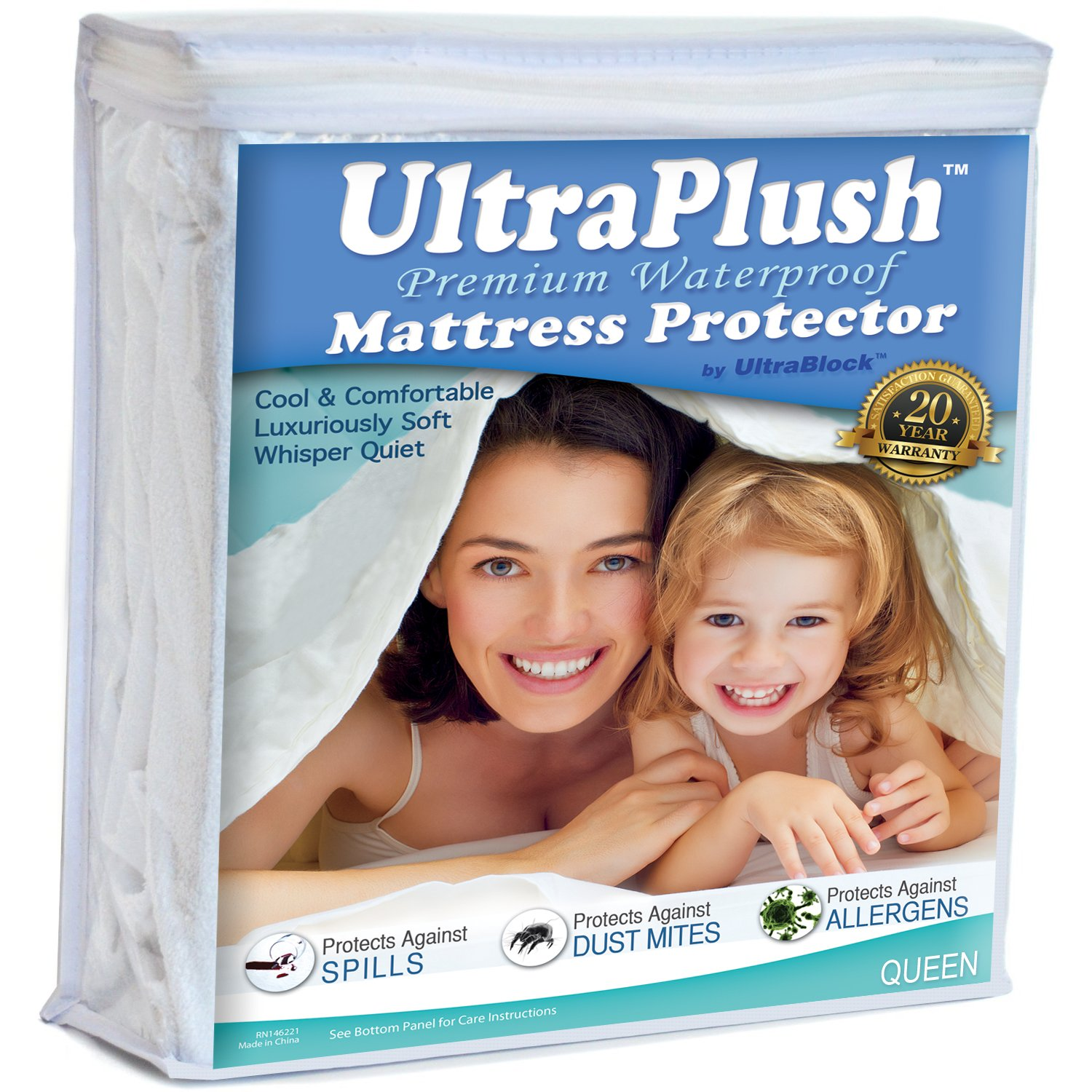 Ultra Plush 100% Waterproof Mattress Protector, Luxuriously Soft and Comfortable, Protects Against Dust Mites and Allergens, Stretchable Deep Pocket Ensures Snug, Easy Fit (Queen Size) by UltraBlock