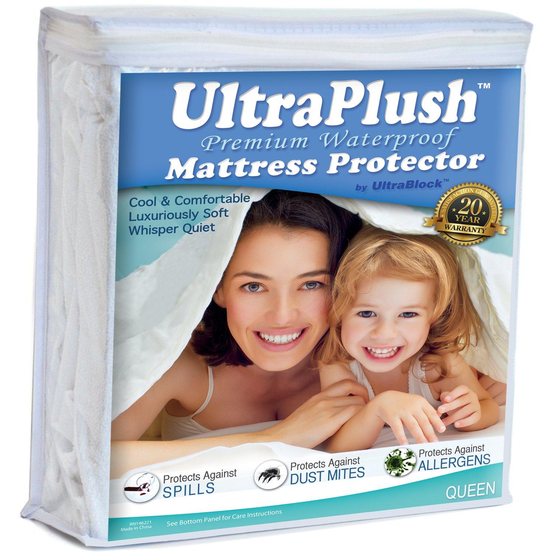 UltraPlush Premium Queen Size Waterproof Mattress Protector - Super Soft Quiet Cover