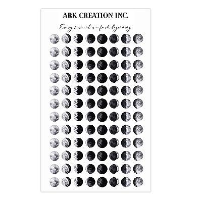ARK Creation 96 Mini Moon Phase Planner Sticker - Realistic Moon Phase Sticker - Lunar Tracking Sticker: Kitchen & Dining