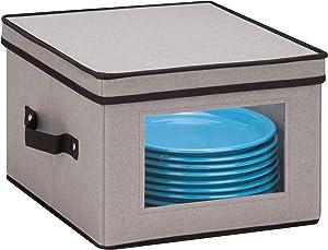 Honey-Can-Do SFT-05375 Medium Dinnerware Storage Window Box, Gray, 12 in L x 12 in W x 8.5 in H