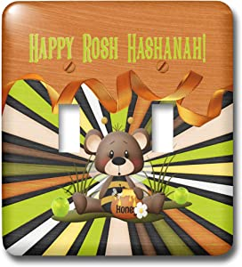 3dRose Beverly Turner Rosh Hashanah Design - Image of Rosh Hashanah, Bee Bear, Honey, Apples, Ribbon, and Stripes - double toggle switch (lsp_325237_2)