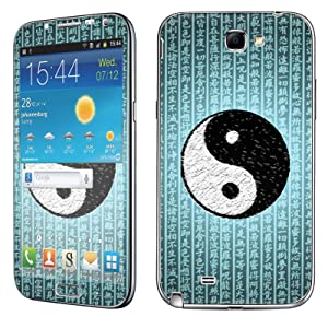Samsung [Galaxy Note 2] Skin [NakedShield] Scratch Guard Vinyl Skin Decal [Full Body Edge] [Matching WallPaper] - [Ying Yang Script] for Samsung Galaxy [Note 2]