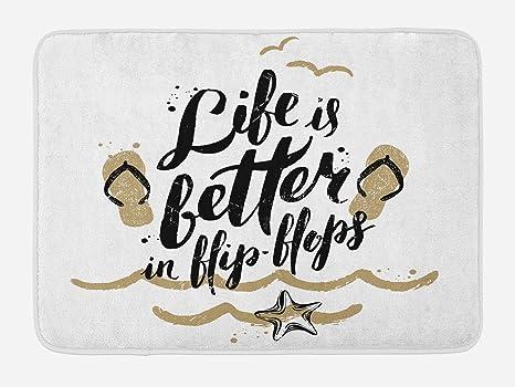Amazon.com: Alfombrilla de baño Lunarable, Life is Better in ...