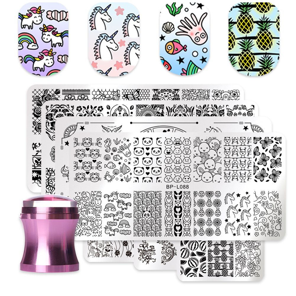 BORN PRETTY 7Pcs Nail Art Stamping Template Flower Fruit Summer Manicure Print DIY Image Plate with Stamper Kit