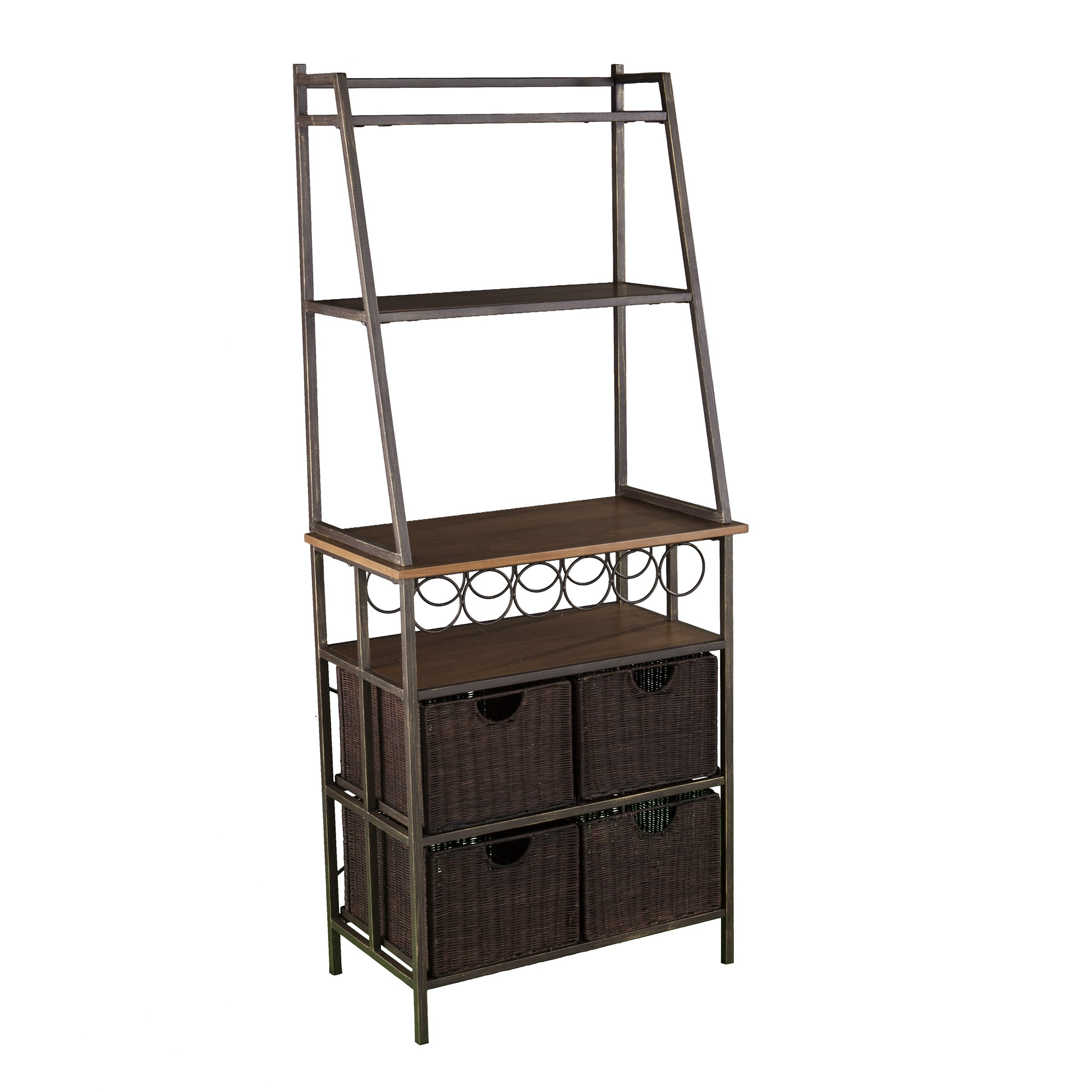 Furniture HotSpot Industrial Bakers Rack with Wine Storage - Microwave Stand w/Shelves & Baskets