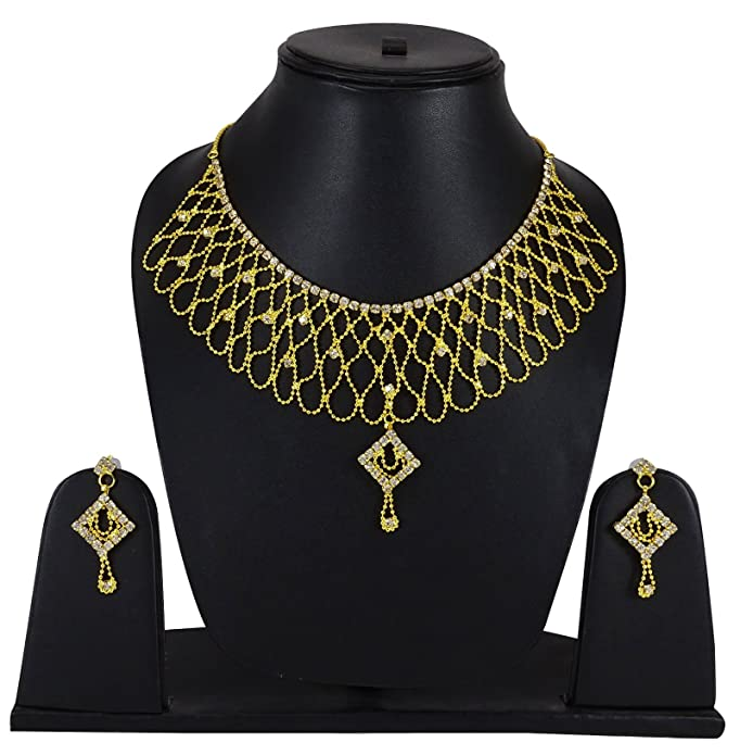 Bridal & Wedding Party Jewelry Goldplated Ethnic 2pcs Necklace Earring Set Traditional Party Jewelry-bng36a