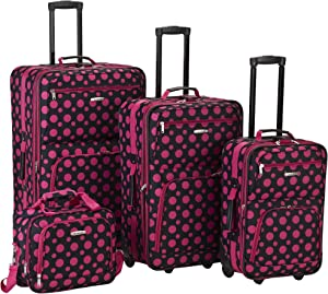 Rockland Fashion Softside Upright Luggage Set, Black/Pink Dot, 4-Piece (14/20/24/28)