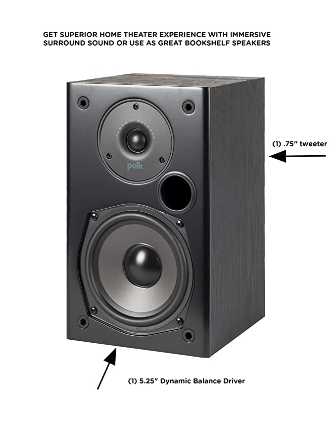Polk Audio T15 100 Watt Home Theater Bookshelf Speakers (Pair) - Premium  Sound at a Great Value   Dolby and DTS Surround   Wall-Mountable