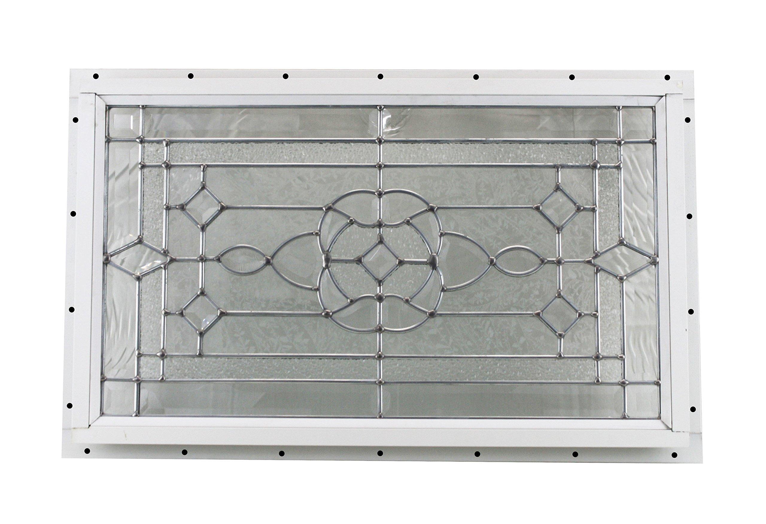 24'' x 14'' Decorative Cut Glass J-Channel Mount Shed Window