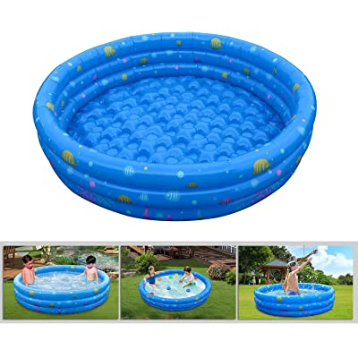 GPCT 【Inflatable】 [52 INCH] Collapsible Bathing in-Home/Ball Pit Kiddie Baby Swimming Pool. Durable, Heavy Duty, Bathing Bath Tub Wash Pond Water Washer for Toddlers, Dogs, Cats, Pets [Blue]: Toys & Games