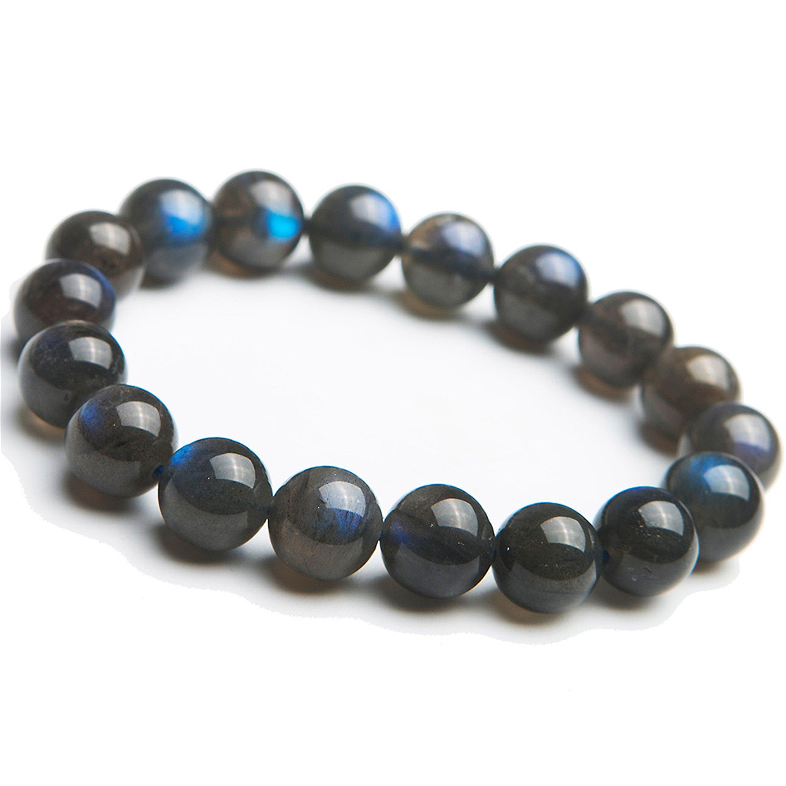 12mm Natural Genuine Labradorite Gemstone Blue Crystal Stretch Round Bead Bracelet AAAA