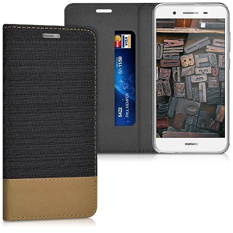 kwmobile Funda para Huawei GR3 / P8 Lite Smart - Carcasa de [Tela] y [Cuero sintético] - Case con [Soporte] en [Antracita/marrón]
