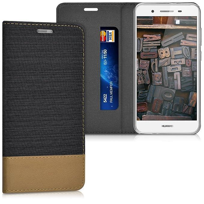 kwmobile Huawei GR3 / P8 Lite SMART Hülle - Stoff Handy Cover Case mit Ständer - Schutzhülle für Huawei GR3 / P8 Lite SMART