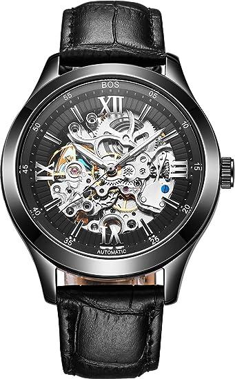 Angela Bos - Reloj de Pulsera mecánico automático para Hombre (Puntero Luminoso, Pulsera de Cuero Negro, diseño de Esqueleto), Color Negro: Amazon.es: ...