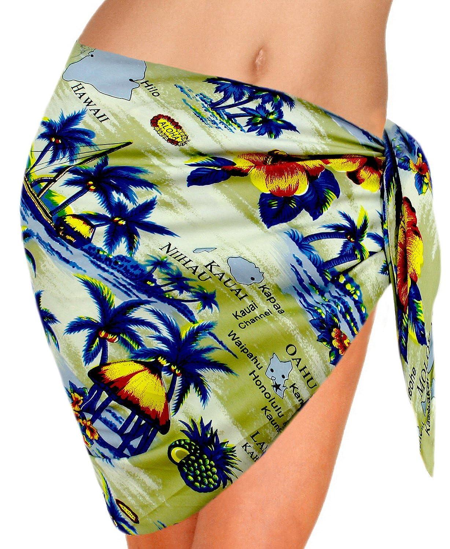 LA LEELA Likre verschleiern hawaiische Frauen Wickeln Sarong gedruckt LA LEELA Bademode swimwear Bikini-Vertuschung Wickelschal plus Größe hawaiische Kleid 122762