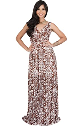 8446fe3677b0 KOH KOH Petite Womens Long Sleeveless Stretchy Flowy Cute Spring Summer Sundress  Sun Vintage Casual Floral