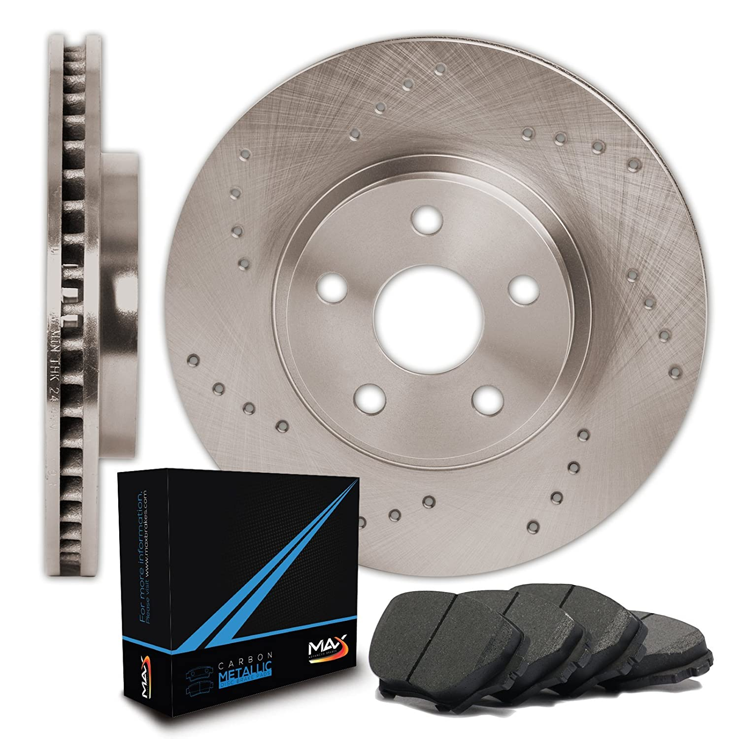5lug -Combo Brake Kit 2 Heavy Duty Black Zinc Plated Drilled Rotors 4 Ceramic Pads Rear Kit