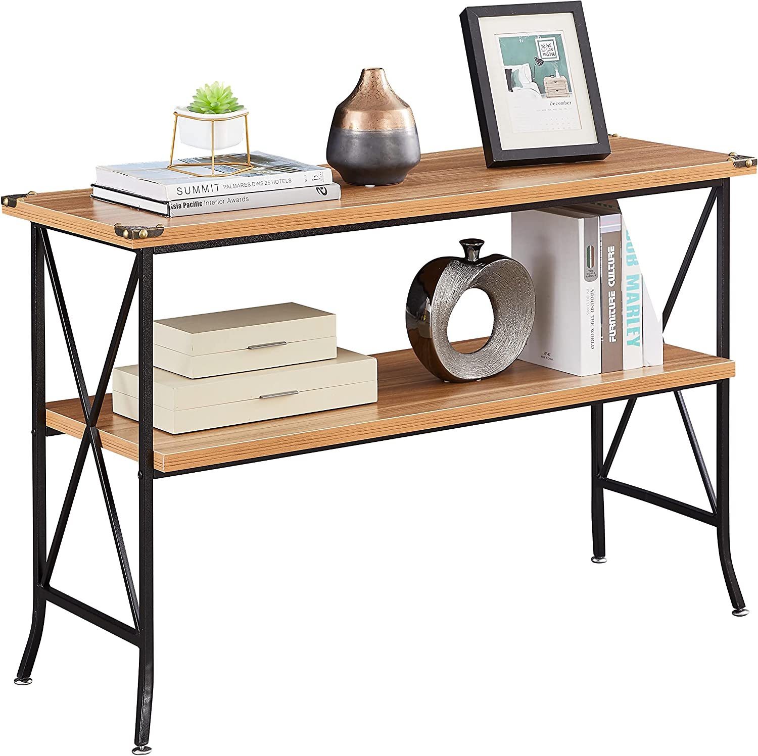 Industrial Sofa Console Table with Storage, 2-Tier High-Leg Wood and Metal Entry Tables with Open Shelves, Rustic Entryway/Hallway Table for Living Room (46 Inch, Walnut)