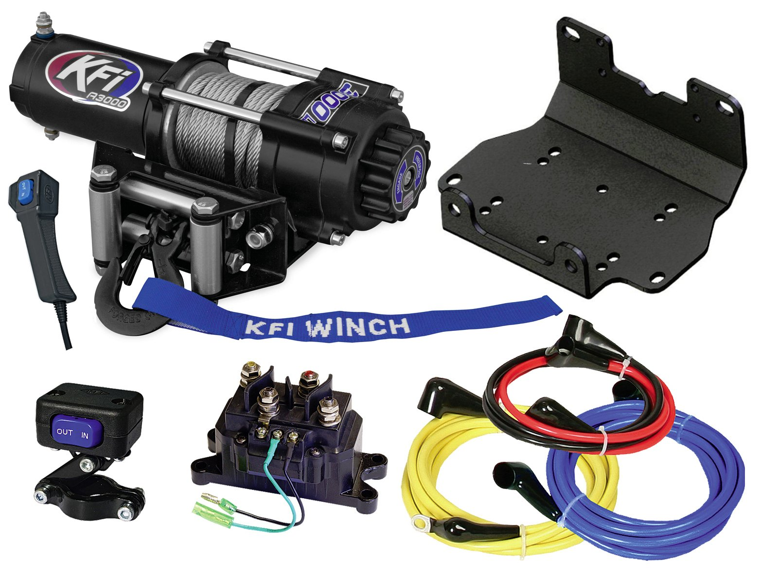 KFI Combo Kit - A3000 3000 lb Winch & Winch Mount - compatible with 2016-2018 Yamaha Grizzly 700 & 2016-2018 Kodiak 700 ATV