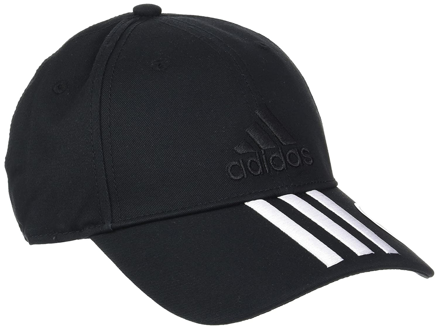 adidas Kid's Six-Panel Classic 3-Stripes Cap, Black/White, One Size S98156