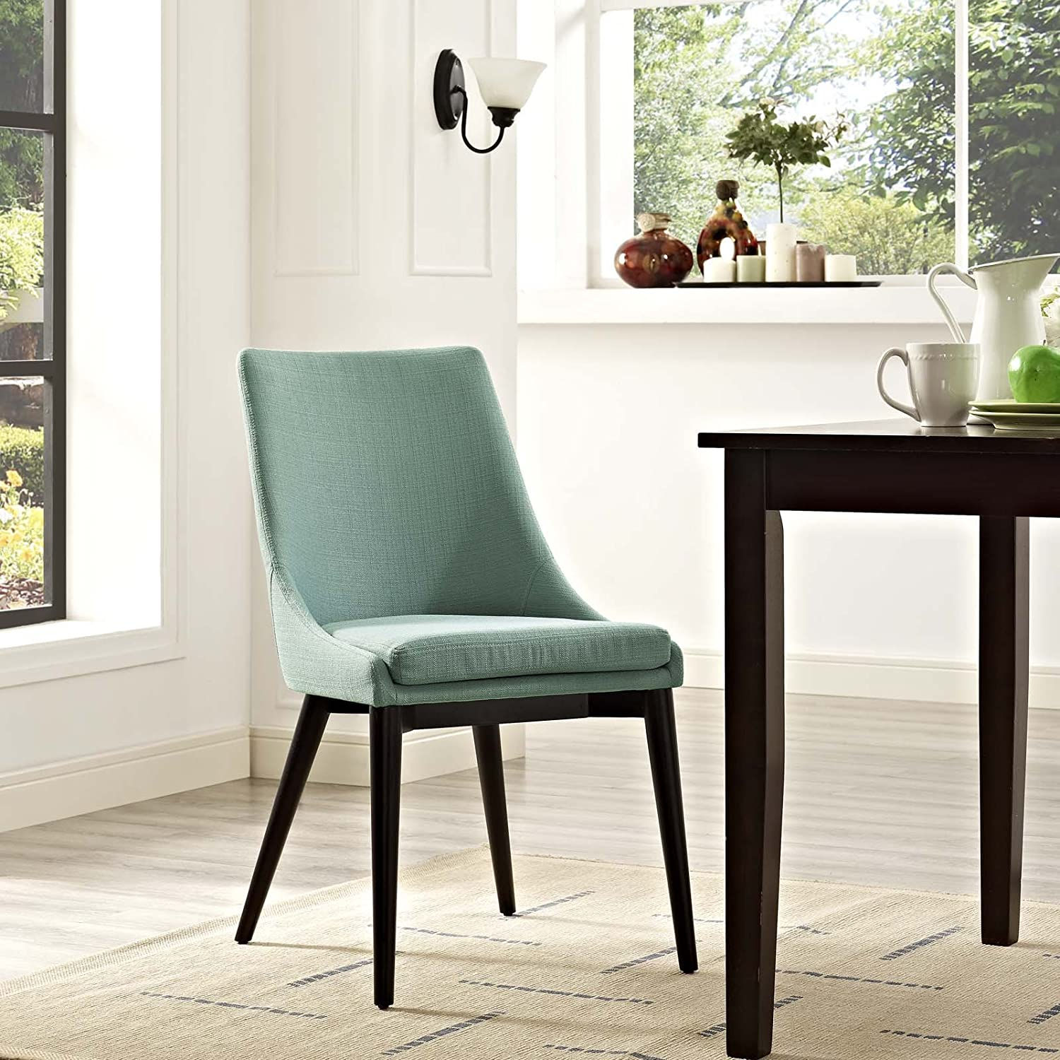 Modway Viscount Mid-Century Modern Upholstered Fabric Kitchen and Dining Room Chair in Laguna