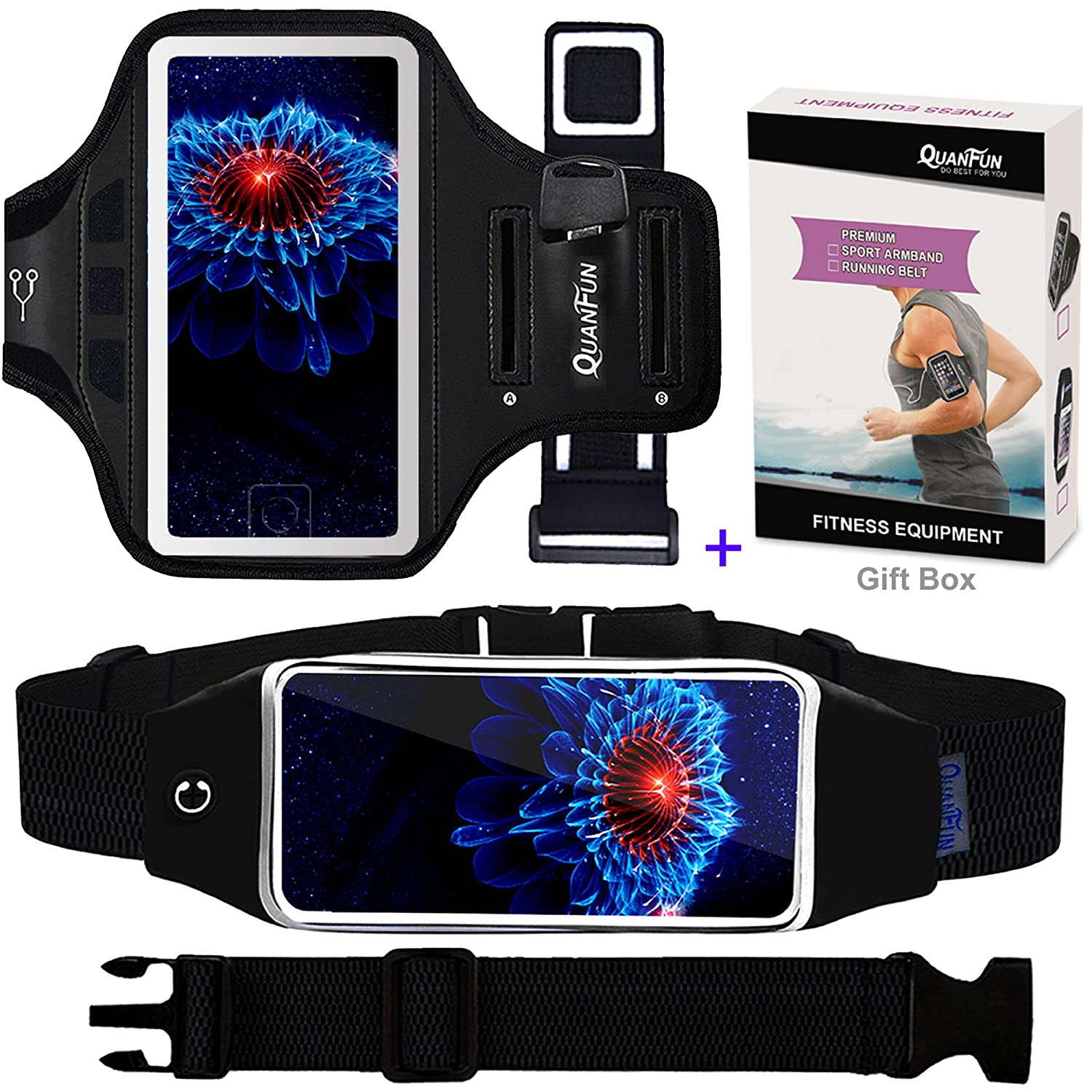 "Running Belt & Sport Armband for iPhone 7 6/6s, QUANFUN Fitness Workout Waist Pack Case Bag Gym Jogging Arm Band for Galaxy S8/S7/S6, Men/Women (XS to 4XL), Fits up to 5.1"" Phones/iPod/MP3 [3 IN 1] Armband-004-2PACK"