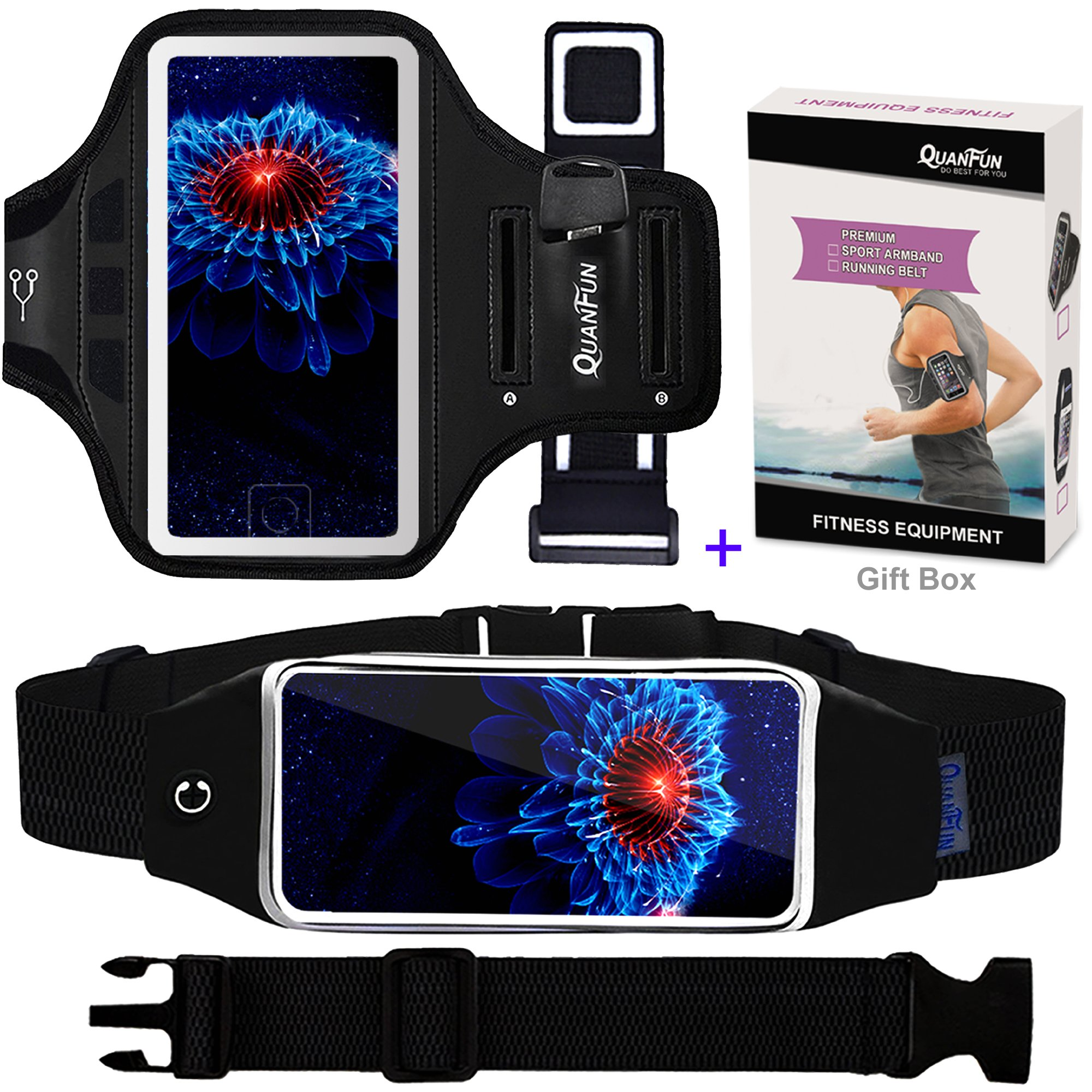 QUANFUN Compatible iPhone 8 Plus 7 Plus 6s/6 Plus Cell Phone Armband + Running Belt, Waist Pack Workout Wristband Sport Arm Band Strap Key Holder Compatible Galaxy s8 s7 s6 Edge, Up to 6.2'', Black