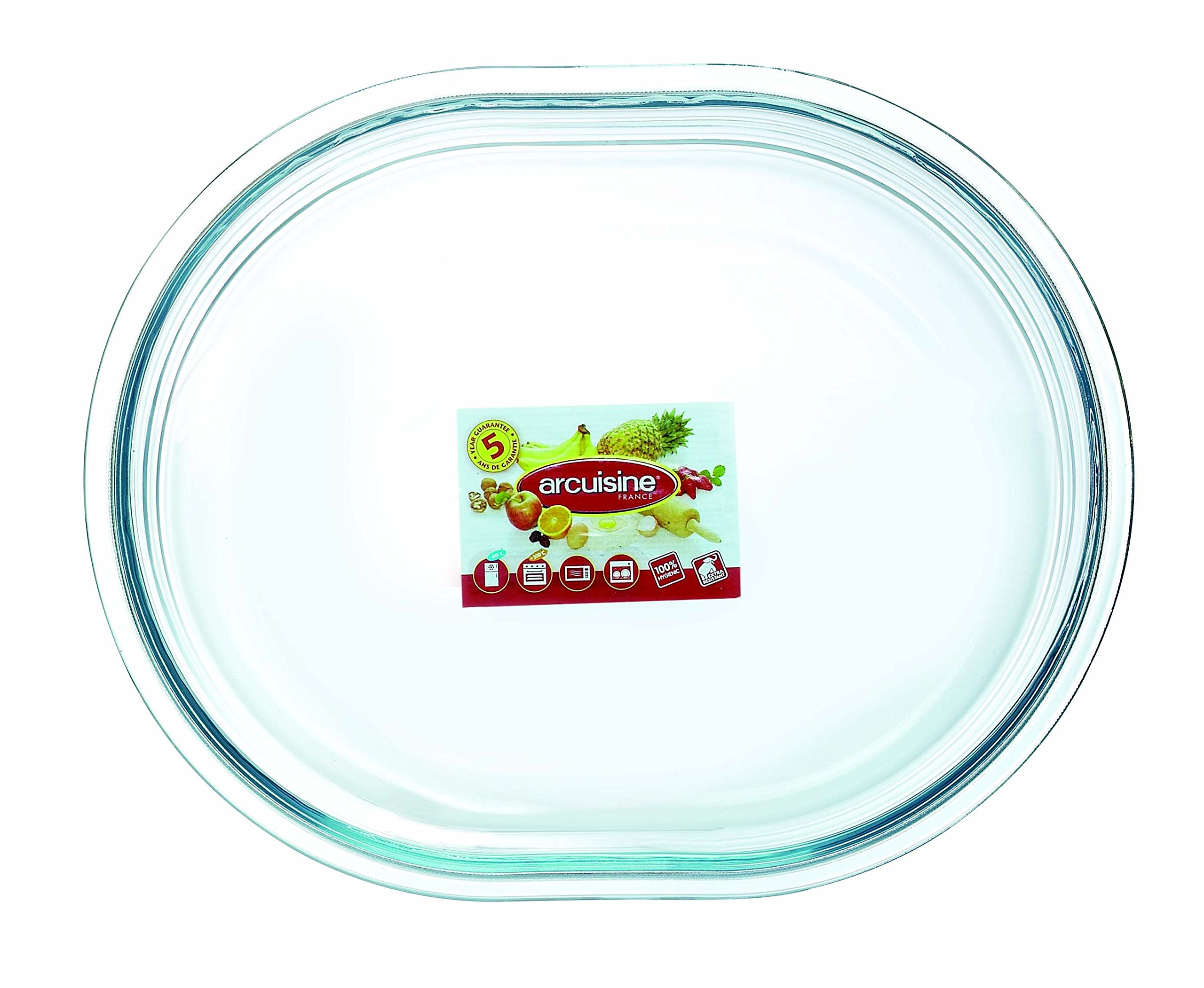 Arcuisine Borosilicate Glass Oval Roaster 9.85 Inches (25 Centimeter)