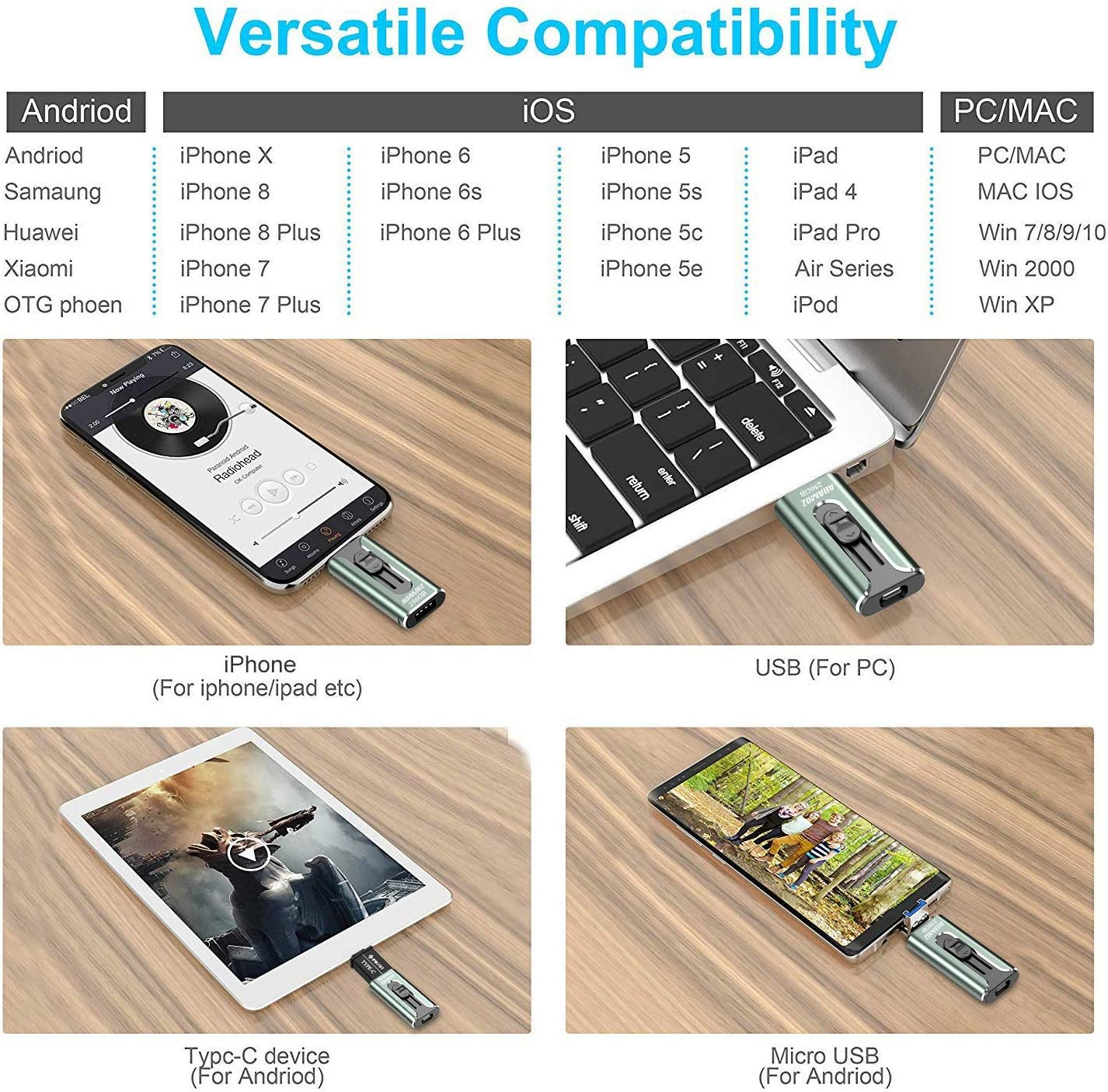 AUAMOZ iPhone USB 3.0 Memory Photo Stick for iPhone 11 Pro X XR XS MAX Dark Green iPhone Flash Drive with 4 Ports Ready for iPhone//iPad//Android//Computer iPhone Flash Drive 128GB iPhone Photo Stick