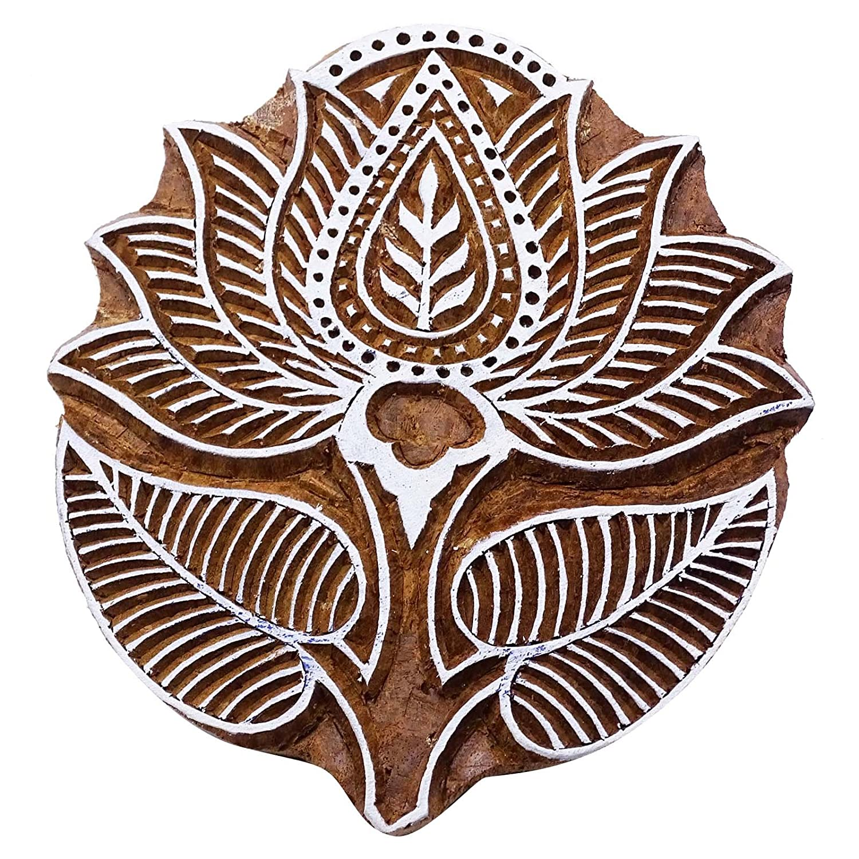Legno Tessile marchio indiano Lotus bordo decorativo pittura timbro Indianbeautifulart
