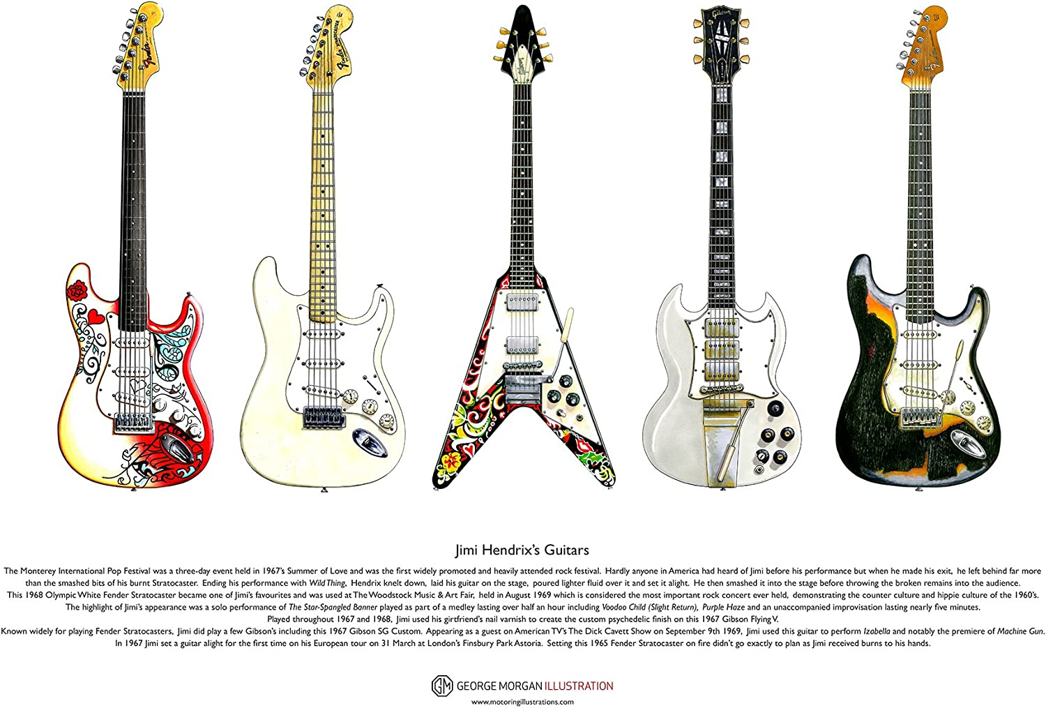 George Morgan Illustration Las Guitarras de Jimi Hendrix Cartel ...