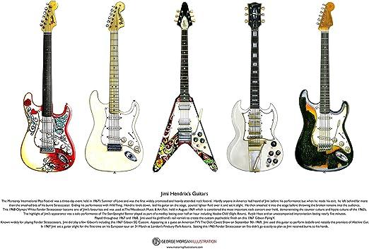 George Morgan Illustration Las Guitarras de Jimi Hendrix Cartel del ...