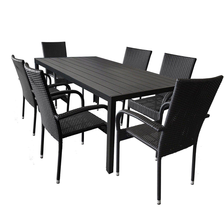 Wohaga® 7tlg. Gartengarnitur Aluminium Gartentisch mit schwarzer ...